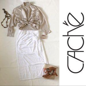 CACHÉ White Summer Long Maxi Skirt